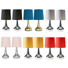Pair of Modern Touch Dimmer Bedside Lounge Table Lamps LED Light Bulb Chrome