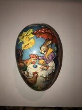 Early Vintage German Paper Mache Easter Candy Container Rabbit Egg 2