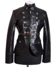 Scarlett Black Ladies New Military Designer Real Lambskin Leather Fashion Jacket
