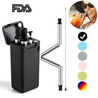 Collapsible Reusable silicone Straw Foldable Drinking Straw metal straws Travel