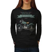 Wellcoda Vintage Motorbike Womens Long Sleeve T-shirt, Cool Casual Design