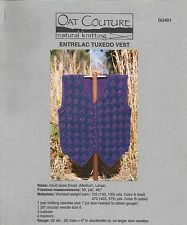 "Entrelac Tuxedo Vest Knitting Instruction Pattern Oat Couture GU401 Adult 36-46"""