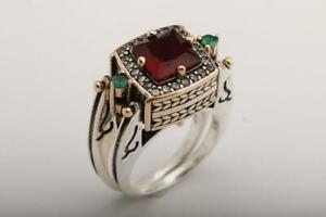 Extraordinary Two in a One Reversible Ottoman Style Square Cut Ruby 925 SS Ring
