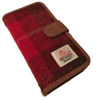 HARRIS TWEED IPHONE 6 7 8 FOLIO PHONE CASE COVER WALLET TARTAN FLIP PINK / RED