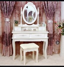 New white makeup vanity with seat and mirror
