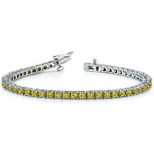 "8.22ct Fancy Canary Yellow Diamond 18k White Over 7"" Tennis Eternity Bracelet"