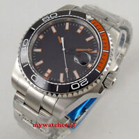 43mm sterile black dial orange marks lume sapphire glass automatic mens watch