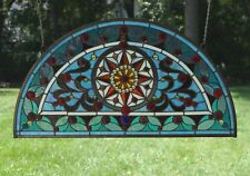 "34""L x 18""H  Half Round Handcrafted stained glass window Jeweled Glass panel"