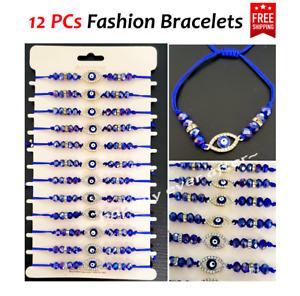 12 PCs Blue Crystal Beads with Rhinestone Eye Fashion Bracelets! US SELLER