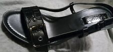 JEANNOT Italy Black Leather Buckle Strappy Wooden Heel Shoes 40 10