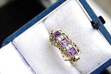 Ring Gold 585-, 4 Brillanten 0,04ct, 3 Amethyste, Größe 53(16,8) Gew. ca. 3,2 g