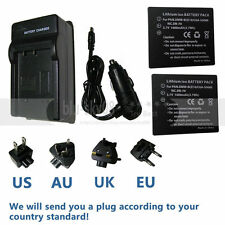 2X Battery+charger for Panasonic DMC-FS5/FS20 CGA-S008E/A DMW-BCE10PP  VW-VBJ10