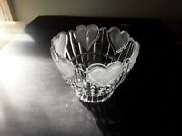 Candy / Nut Bowl With Frosted Hearts.Dinnerware.Vintage Heavy Clear Glass