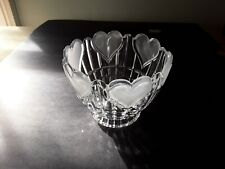 Vintage Heavy Clear Glass Candy / Nut Bowl With Frosted Hearts.Dinnerware