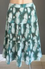 Retro JEANSWEST Jade/Taupe/Mint Tie Dye Print Knee Length Tier Skirt Size 12