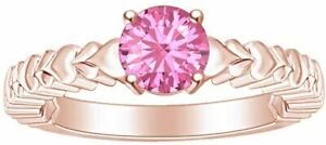 Round Simulated Tourmaline Solitaire Heart Carving Ring 14k Gold Over Silver 925