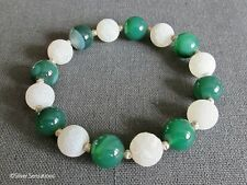 Green Banded Agate & White Frosted Agate Stretch Bracelet With Sterling Silver