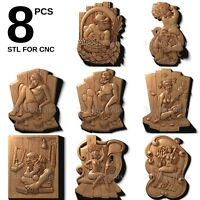 3d stl model cnc router artcam aspire 8 pcs pack panno basrelief