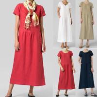Women Solid O-Neck Short Boho Sleeve Linen Mini Pocket Ruched Casual Dress US