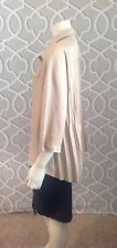 Babette SF Solid Tan Beige Gold Snap Front Pleated Back Blouse Top S Nwot