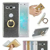 Luxury Bling Glitter Ring Stand Case Cover For Xperia XA2 Ultra XZ2 Compact XZ3