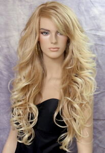 Long Blonde Mix Human Hair Blend Full Wig Goregeous wavy Heat Safe WBVA 27/613