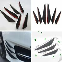 6PCS Carbon Fiber Color Car Front Bumper Fins Canards Splitters Universal ABS