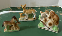 Vintage 3 Porcelain Figurines Squirrels, Deers, Horses Made in Japan