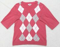 Van Heusen Long Sleeve Women's Medium V-Neck Sweater Cotton Woman Red White Gray