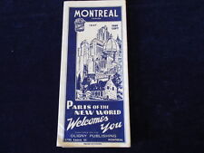 Vintage 1947 Montreal Quebec Canada City Road Map Paris of The New World
