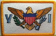 US VIRGIN ISLANDS Flag Patch With VELCRO® BRAND Fastener Gold Border #56