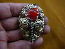 (Z-24-2) Red pink Czech glass button stone elephant head brass pin brooch