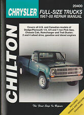 Chilton 1967-1988 Chrysler Full-Size Trucks Repair Manual