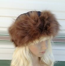 brown tan beige real genuine fox fur satin lining unisex hat head ear warmer