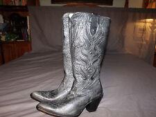 RARE Zipper Women CORRAL R2274 Grey/Blk Silver Stch. Stud Boot Snip Toe Tall 10M