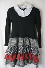 Rare Editions Dress 2 Piece-Look Sweater Bodice Ruffled Skirt Blk Wht 16  #8101