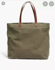 NWT MADEWELL Canvas Transport Tote Green Leather Straps $58 F9414