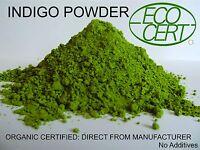 INDIGO POWDER ECOCERT CERTIFIED ORGANIC FOR BLACK HAIR DYE 500 gm 2018 processed