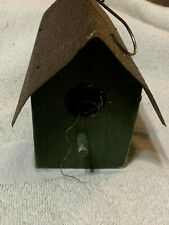 Vintage Wooden Mini Bird House with Overlapping Tin Roof Decorative Piece.