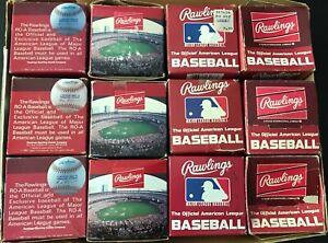 vintage RAWLINGS AMERICAN LEAGUE 1985 AL baseball (12) box lot Bobby Brown boxes