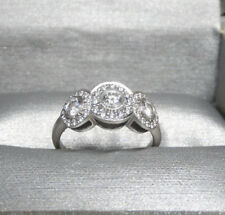 Tiffany & Co Platinum .55ct Circlet Three Stone Halo Diamond Ring Size 4