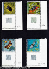 France (Wallis & Futuna Islands) - 1974 Insects - U/M - SG 233-6 (Corner Blocks)