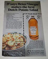 Vintage Ephemera ~1971 Heinz Vinegar 5 cent coupon Dutch Potato Salad #2502