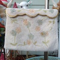 Vintage 50s 60s Cream Ivory Pink Floral Beaded Purse Handbag Evening Bag Clutch
