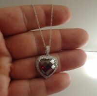 HEART PENDANT NECKLACE W/ 11.50 CT LAB DIAMONDS & GARNET/ 925 STERLING SILVER