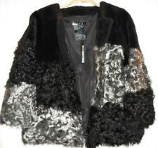 NWT $800 JOCELYN SHEARLING PATCHWORK JACKET METALLIC FUR COAT Women's sz. M 6-8