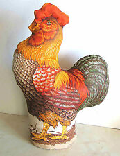 """Rooster Chicken Assembled 1980s Print Fabric 16"""" Soft Sculpture Farmlife FREE SH"""