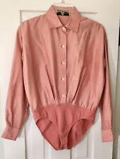 DONNA KARAN Sz 4 Vintage Coral Silk Cuffed Button Up Blouse Bodysuit