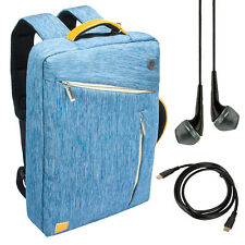 Blue Backpack Messenger Bag for Dell Inspiron 17 17.3-Inch Laptop +Earbud+Cable