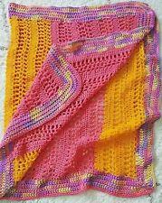 Handmade Crochet Afghan Baby Blanket Grandma Lap Blanket Pink Orange